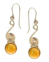 Eternity Antique Amber Spiral Round drops in 14k yellow gold