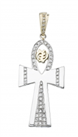 Nubian Ankh Angel Gye Nyame Pendant- 30mm in 14k gold