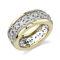 14k white yellow ring - African Wedding Rings