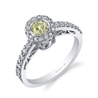 14k White Gold Cathedral Yellow Diamond Ring