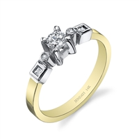 Gia 14k Two Tone Round and Princess Cut Diamond Ring