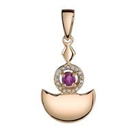 Bodh Ruby Pendant in 14k rose gold