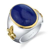 Zulu Bleu Mens Ring in sterling silver & 14k gold