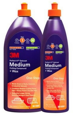 3M, MEDIUM CUTTING POLISH & WAX, 1 PINT