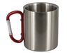 11oz Stainless Steel Mug with Red Carabiner Handle