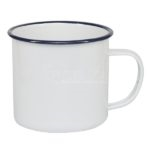 12 oz. White Camper Mug with Blue Lip
