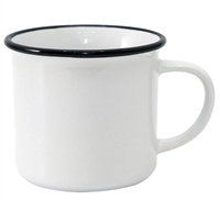12 oz. White Camper Mug with Black Lip