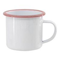 12 oz. White Camper Mug with Pink Lip