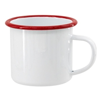 12 oz. White Camper Mug with Red Lip