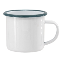 12 oz. White Camper Mug with Sage Green Lip