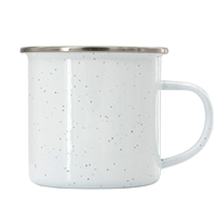 12 oz. White Speckled Camper Mug with Silver Lip
