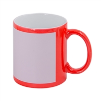 11 oz. Red Flourescent Mug w/White Patch