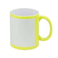 11 oz. Yellow Flourescent Mug w/White Patch
