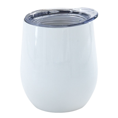 12 oz. Stainless Steel Wine Tumbler - White