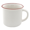 13 oz. Ceramic Camper Mug - White with Red Lip