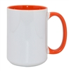 15 oz. Inner/Handle Orange Orca Mugs