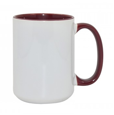 15 oz. Inner/Handle Maroon Orca Mugs