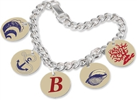 CHARM BRACELET with 5 BALES and 5 CIRCLE CHARMS -