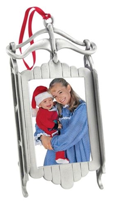 Pewter Sled Frame Ornament