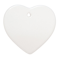 "Ceramic Ornament - 3"" Heart  25pcs/pack"