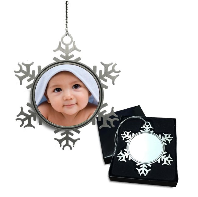 Pewter Snowflake Christmas Ornament with sublimation insert