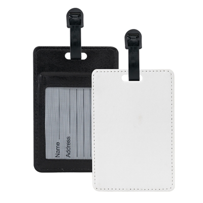 Sublimation  Luggage Tag- Black w/Slot (PU)
