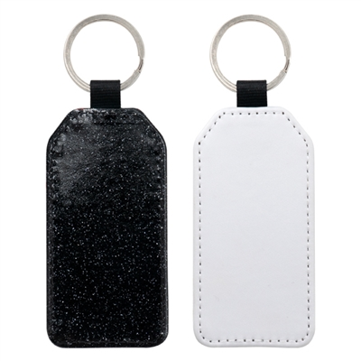 Fashion Sparkle Keychain - Black Rectangle (PU)