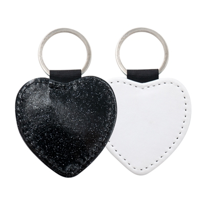 Fashion Sparkle Keychain - Black Heart (PU)