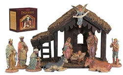10-Pc Nativity Set with Wood Stable - Free Shipping