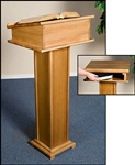 LECTERN WITH SHELF-PECAN FNSH
