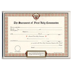 First Communion Certificate Parchment