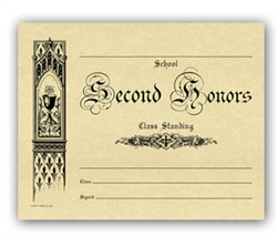 Second Honors Parchment Certificate
