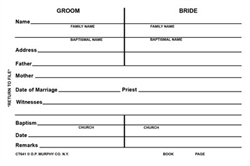 Marriage Record Cards