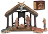4-Pc Nativity Set with Wood Stable - Free Shipping