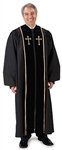 Pulpit Robe: Black With Embroidered Gold Crosses