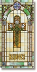 Stained Glass Rejoice Cross with Lilies Banner