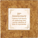 50th Anniversary Touch of Vintage Gold frame Tabletop Christian Verses - 7 x 7