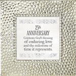 25th Anniversary Touch of Vintage Silver frame Tabletop Christian Verses - 7 x 7
