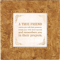True Friend Touch of Vintage Gold frame Tabletop Christian Verses - 7 x 7