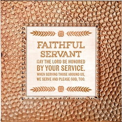 Faithful Servant Touch of Vintage Copper frame Tabletop Christian Verses - 7 x 7