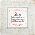 Sister Touch of Vintage White frame Tabletop Christian Verses - 7 x 7