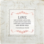 1 Corinthians 13:4-8 Touch of Vintage White frame Tabletop Christian Verses - 7 x 7