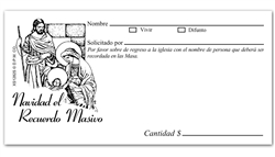 Spanish Christmas Mass Remembrance Offering Envelope