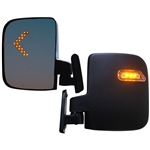 Side Mount Golf Cart Mirrors with LED Indicators - Set of 2