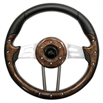 "13"" Aviator 4 Woodgrain / Aluminum Steering Wheel"
