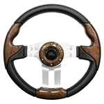 "13"" Aviator 5 Woodgrain / Aluminum Steering Wheel"