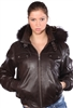 lambskin zippered jacket with fur hood