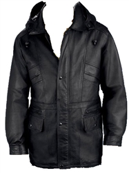 leather parka with hood
