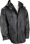lambskin leather parka with hood