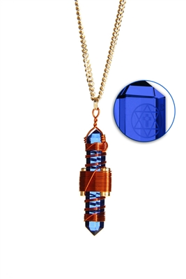Buddha Maitreya the Christ Blue Siberian Quartz Etheric Weaver Pendant in Copper